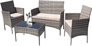 Furniwell Patio Outdoor Furniture Set 4 Pieces Porch...