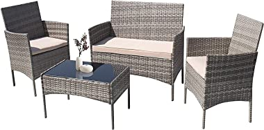 Furniwell Patio Outdoor Furniture Set 4 Pieces Porch Wicker Chairs Sets Rattan Balcony Sofa Conversation Set for Backyard Law