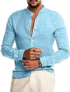 Heren opstaande kraag Shirt met lange mouwen Effen kleur Losse Comfortabele Eenvoudige Trend Mode Basic Casual Shirt Top