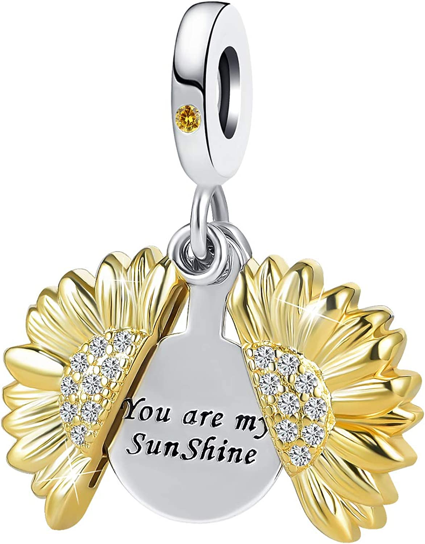 DWJSu Sunflower You Are My Sunshine Crystal Heart Bead Dangle Charm fit Charm Necklace Bracelet