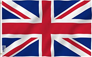 Anley Fly Breeze 3x5 Foot United Kingdom UK Flag - Vivid Color and UV Fade Resistant - Canvas Header and Double Stitched - British National Flags Polyester with Brass Grommets 3 X 5 Ft