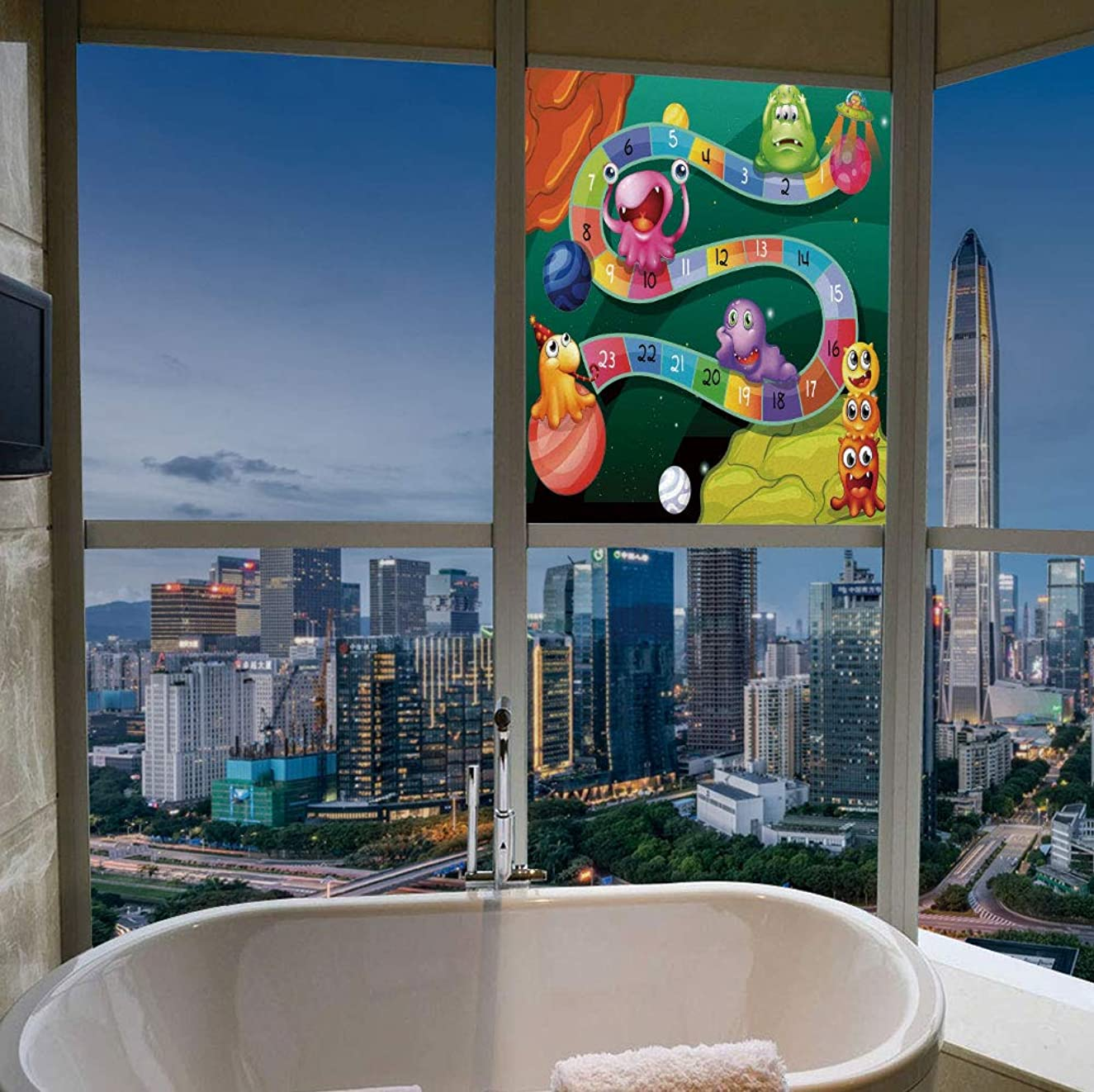 Control Heat and Anti UV Window Cling,Board Game,Reduce Heat, Glare and Block Out Harmful UV Rays,Colorful Cartoon Style Cute Aliens with Numbers in,17''x24''