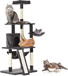 Tammible Cat Activity Tree and Towers Condo Furniture Scratching Kitty Cat Play House with Stair (