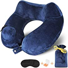 Inflatable Travel Pillow for Airplanes, Auto-inflating Neck Pillow with Super Soft Velvet Cover, Two Adjustable Snap Tabs for Any Sizes, Travel Kit with Earplug, Sleep Mask and Bag (2-year warranty)