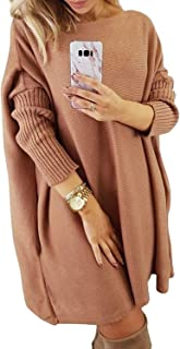 Women's Off Shoulder Oversized Loose Casual Long Pullover Sweaters Dress Jumper