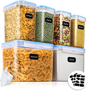 Food Storage Containers, 6 Pieces BPA Free Plastic Airtight Food Storage Containers for Flour, Sugar with Measuring Cup an...