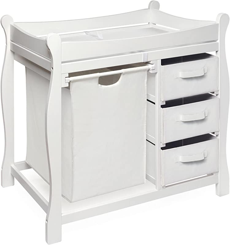 Badger Basket Sleigh Style Changing Table With Hamper 3 Baskets White