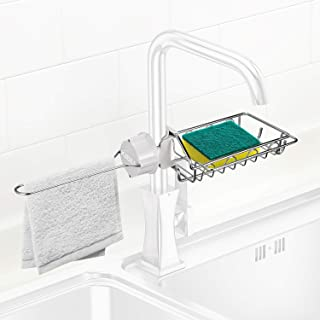 KIBEE Kitchen Faucet Caddy Sponge Holder Soap Dish Brush Dishcloth Drainer Rack with Hooks Stainless Steel Gray