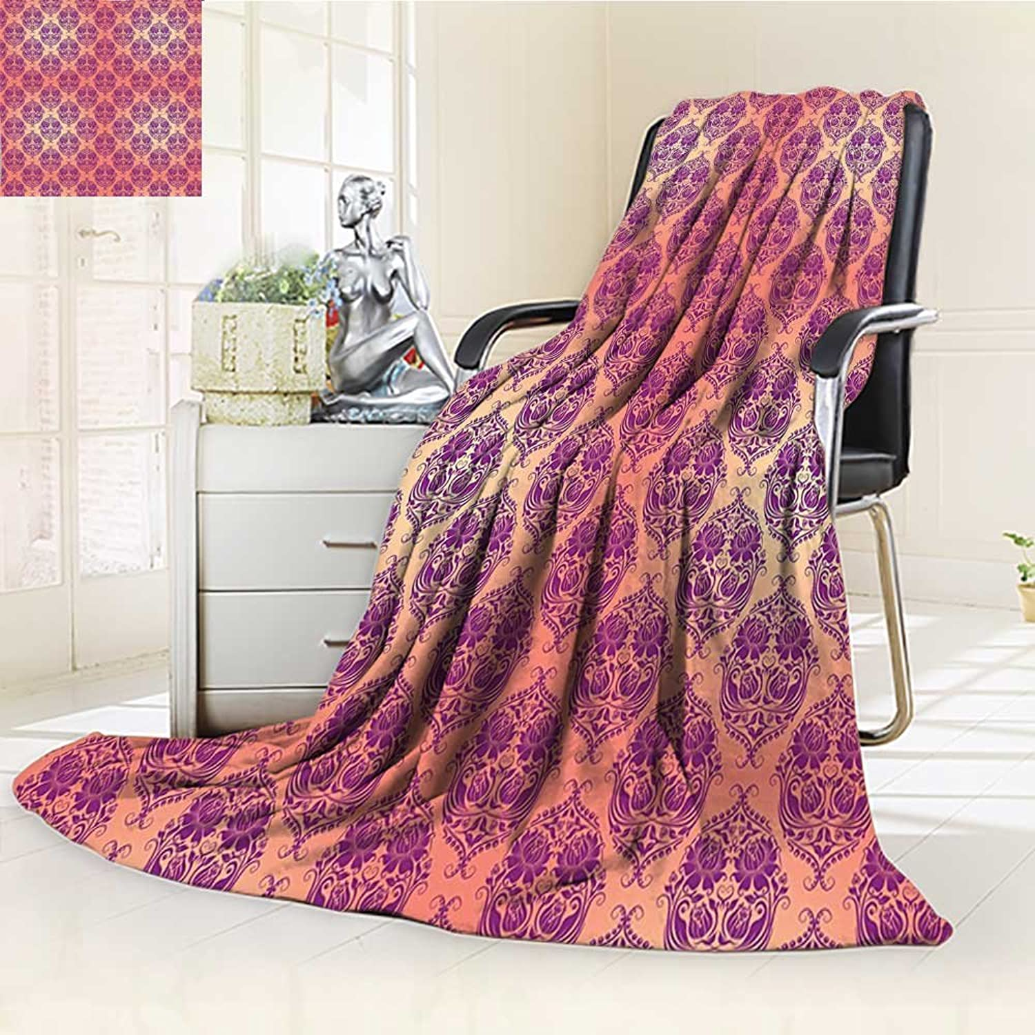 YOYI-HOME Digital Printing Duplex Printed Blanket Damask Flower Featured Classic Damask Themed Pattern Original Royal French Style Mauve Pink Summer Quilt Comforter  W59 x H39.5