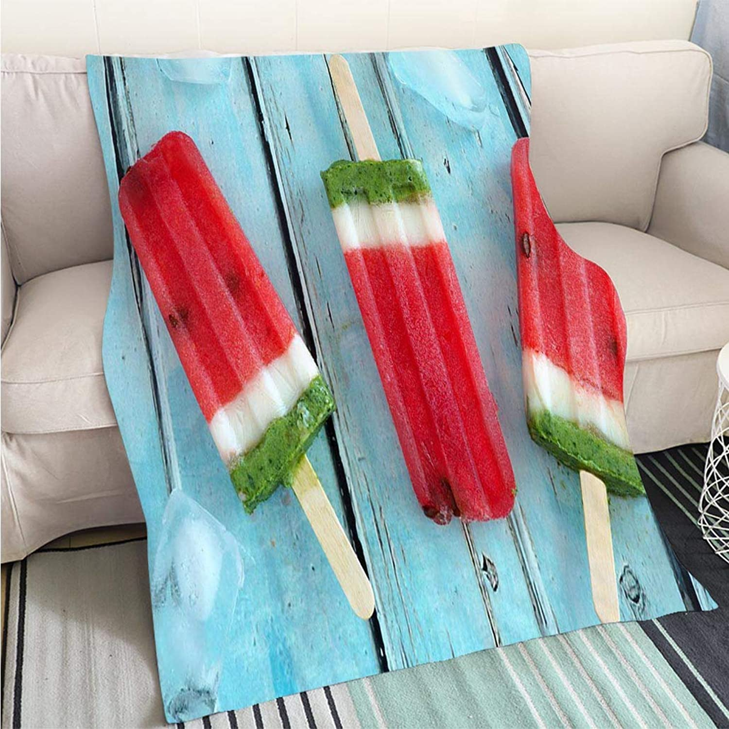 BEICICI Comforter Multicolor Bed or Couch Homemade Watermelon Popsicles with ice Against Rustic bluee Wood Fun Design AllSeason Blanket Bed or Couch