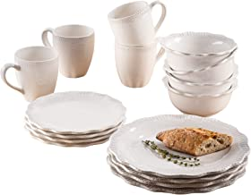 American Atelier 7474-16-RB Bianca Flute Scallop Casual Round Dinnerware Set – 16-Piece Ceramic Party-4 Dinner & 4 Salad Plates, 4 Bowls, 4 Mugs – Gift for Special Occasion or Birthday, 10.75, White