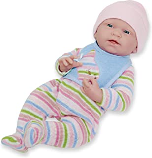 """JC Toys, La Newborn All Vinyl Anatomically Correct Real Girl 15"""" Baby Doll in Striped Long Sleeved Pajama Outfit - for Chi..."""