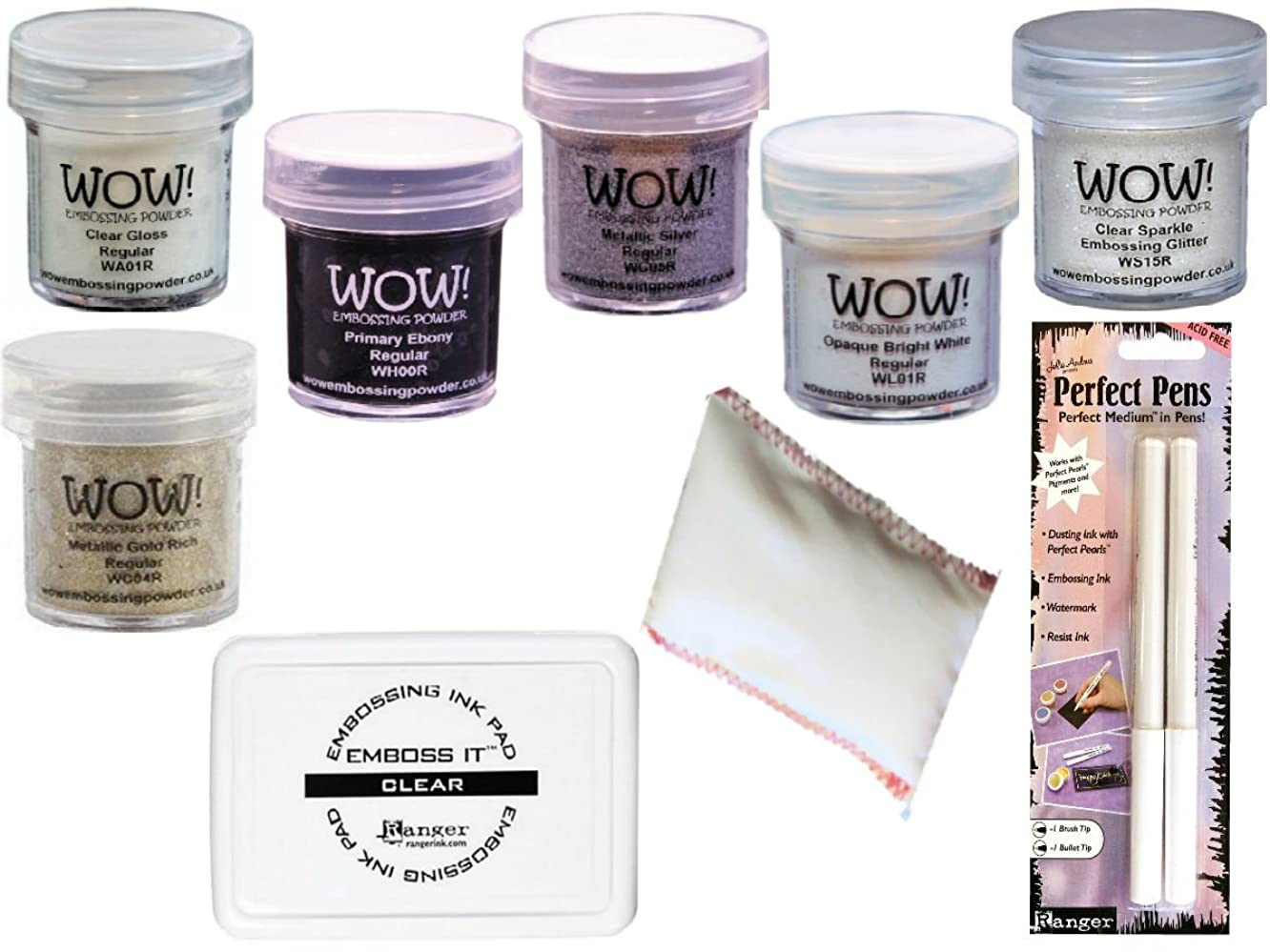 Embossing Starter Kit with Powders, Foam Pad, Static Pad and Pens (White/Clear)