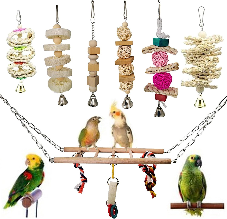 Camidy 7 Packs Bird free List price shipping Parrot Toys Climbing Hammock Hanging Swing