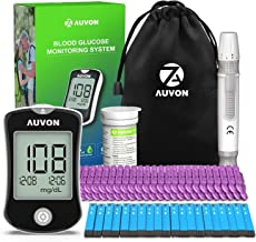 AUVON DS-W Blood Sugar Kit (No Coding Required), High-Tech Diabetes Blood Glucose Meter with 50 Test Strips, 50 30G Lancets, Lancing Device
