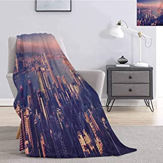 Tr.G City Comfortable Large Blanket Dreamy View of Chinese City Hong Kong Urban Scene Concept Victoria Harbor Microfiber Blanket Bed Sofa or Travel W57 x L74 Inch Pale Pink Night Blue