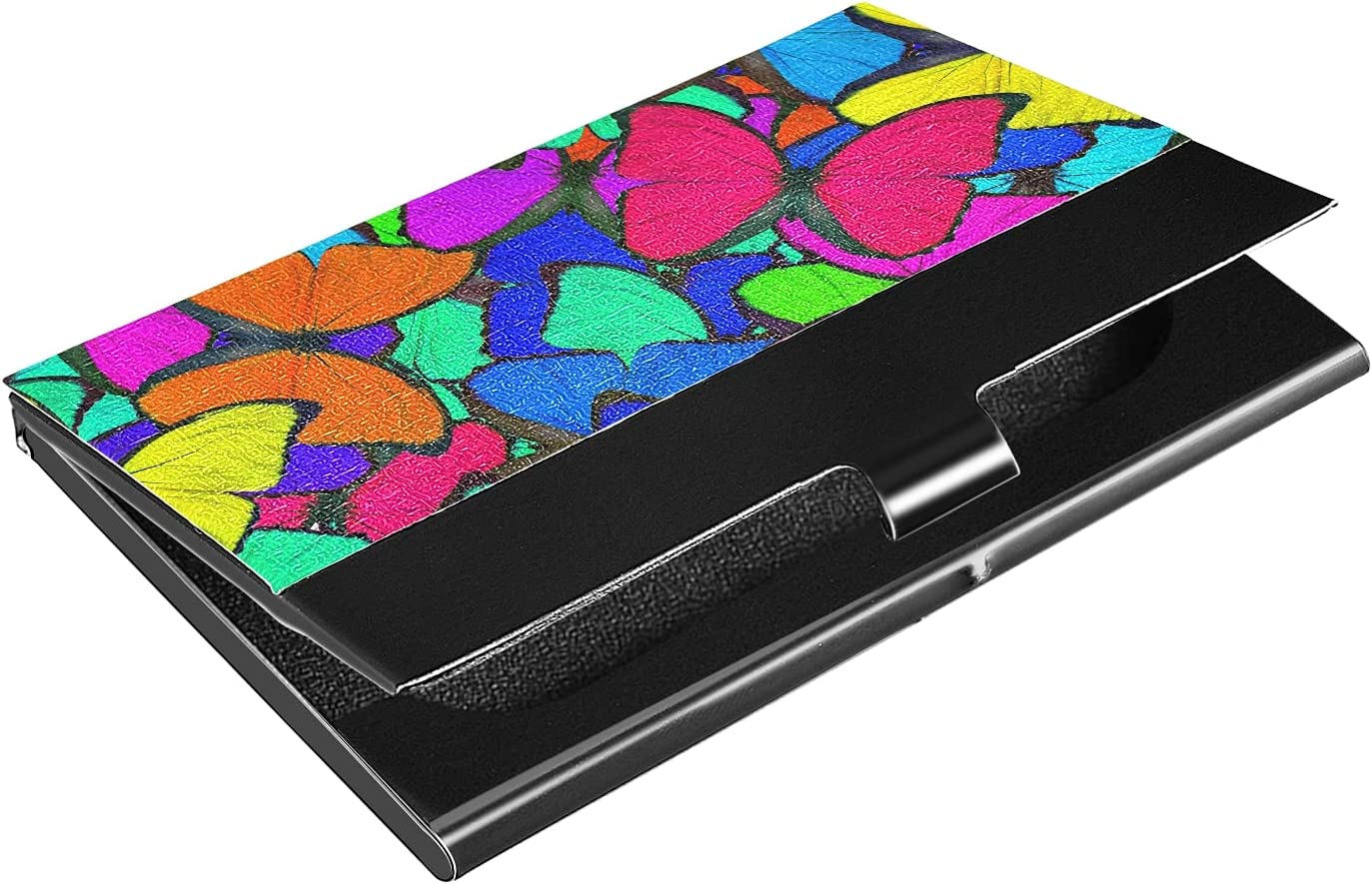 OTVEE Spring new work one after another Colorful Butterflies Business Holder Card Wallet Store Stainless