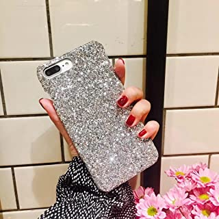 IKASEFU Flash Powder Back Shockproof Luxury Sleek Glitter Sparkly Bling Cute Shiny PC Thin Bumper Protective Cover Compatible with iPhone SE/5S/5,silver