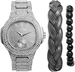 Iced Out Oblong Most Popular Mens Silver Watch, Accessorized w/Fashionable Versatile Bracelets -Fabric Braided Bracelet & Wooden Beaded Bracelet - Perfect Touch for The Best Dressed Man - 8475BBSlBlk