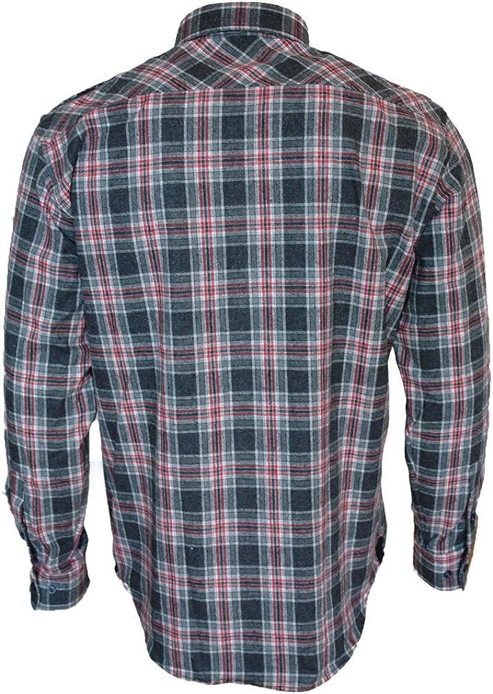 Camicia a Maniche Lunghe in Flanella da Uomo ROCK-IT Apparel/® Camicia da Boscaiolo a Quadretti Realizzata in Europa Vari Colori S-5XL