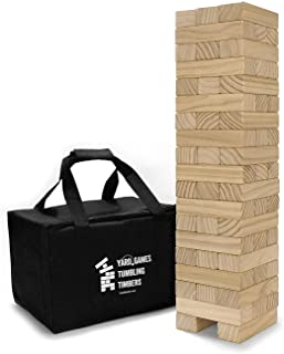 YardGames Giant Tumbling Pine Timbers Stacking Game Bundle with Giant 4 in a Row Indoor Outdoor Game with Carrying Case fo...