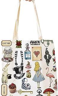 Funny Alice in Wonderland Natural Cotton Reusable Tote Bag   Cute Eco-Friendly Shopping Bag Tote Bag Shoulder Bag Gifts fo...