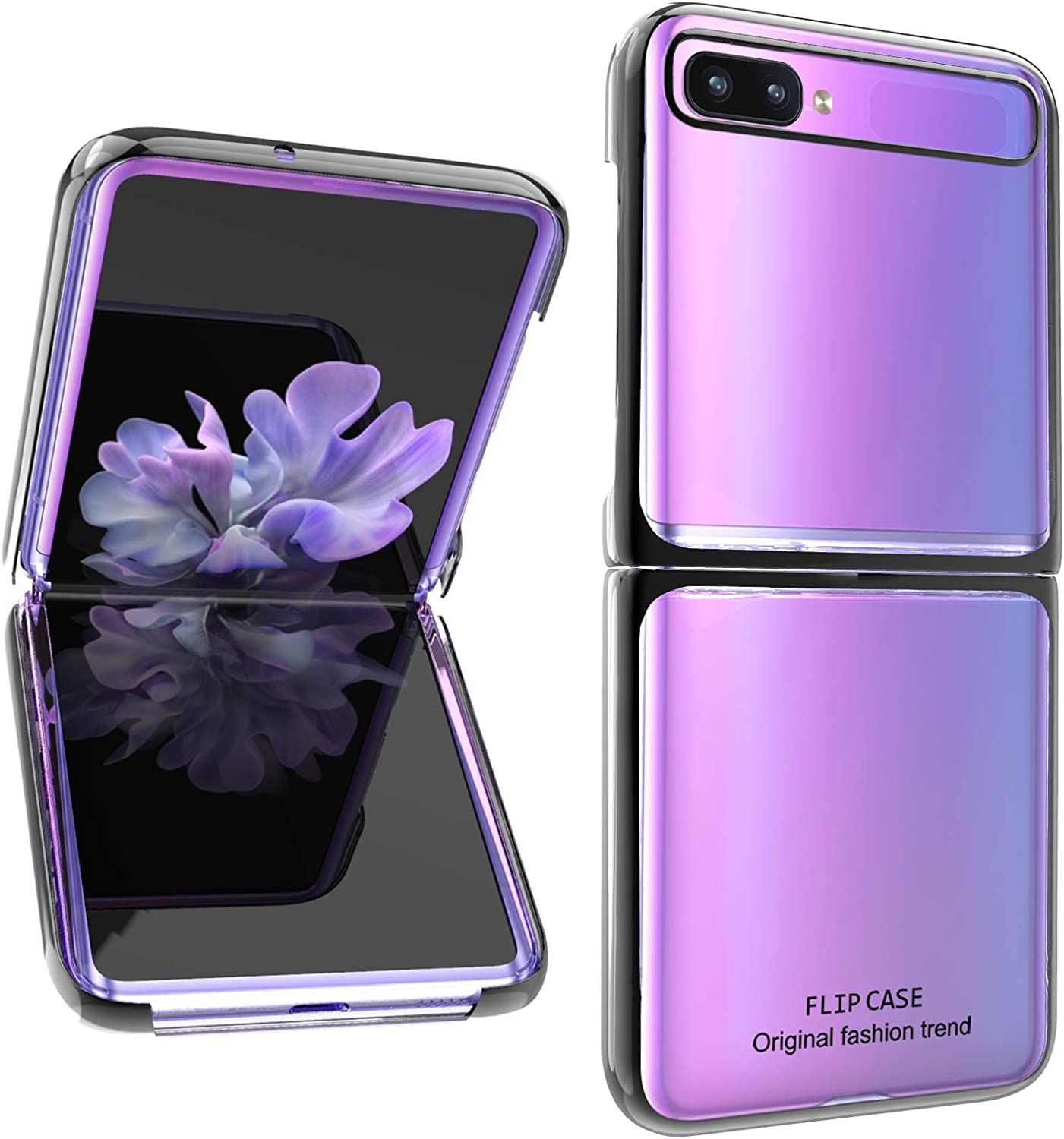 AIGOMARA Clear Case for Samsung Galaxy Z Flip 5G Hard PC Crystal Cover Anti-Scratch Shockproof Protection Thin Slim Phone Cover for Galaxy Z Flip 5G, Clear-Black