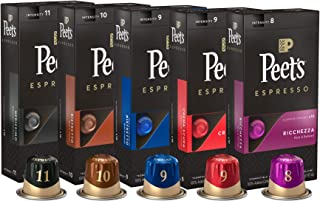 Peet`s Coffee Espresso Capsules Variety Pack, 50 Count Single Cup Coffee Pods, Compatible with Nespresso Original Brewers, Crema Scura, Decaffeinato Ristretto, Nerissimo, Ricchezza, Ristretto