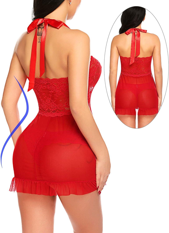 Avidlove Lingerie for Women Lace Babydoll Dress Bridal Langerie Negligee Ruffle Halter Chemise: Clothing