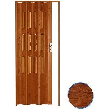 Forte Puerta Plegable de Interior de PVC 88,5x214 cm Cerezo - Vidrio Transparente Mod.Luciana: Amazon.es: Hogar