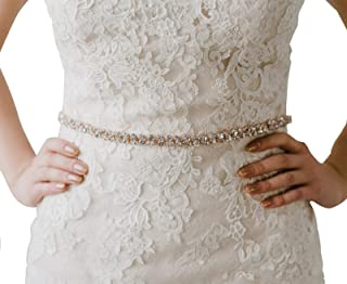 8a1c8b8a63 SWEETV Rhinestone Bridal Belt Wedding Dress Belt Crystal Bride Bridesmaids  Sash Belt