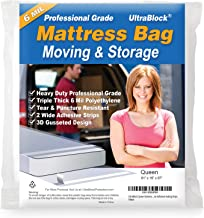 UltraBlock Mattress Bag for Moving, Storage or Disposal - Queen Size Heavy Duty Triple Thick 6 Mil Tear & Puncture Resistant Bag with Two Extra Wide Adhesive Strips