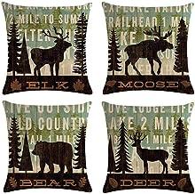 Small 4 peças de capas de almofada de linho de algodão com urso de alce cervo e floresta de pinheiro