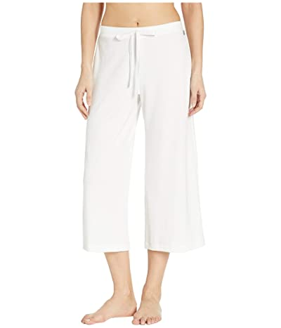 Natori Zen French Terry Cropped Wide Leg Pants (White) Women