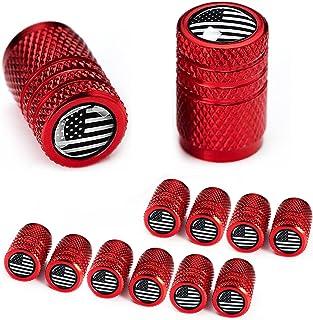 Dsycar 12 Pack Tire Valve Stem Caps, Puerto Rico Flag, Anti-Theft Hexagon Design Black Aluminum Valve Stem Caps fits Cars,...