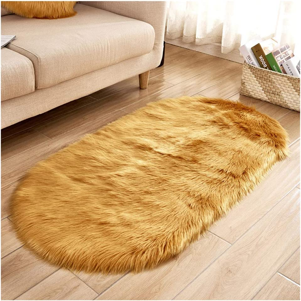 Soft Faux Sheepskin Outlet SALE Fur Rug Max 77% OFF Oval Floor Area Small Sized Shag So