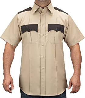 100% Polyester Two Tone Short Sleeve Men's Uniform Shirt