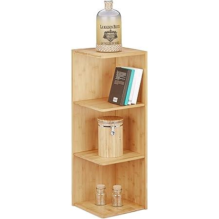 Relaxdays Estantería rinconera, Tres estantes, Librería, Mueble de almacenaje, 85,5x29x29 cm, 1 Ud, bambú, Marrón/Natural