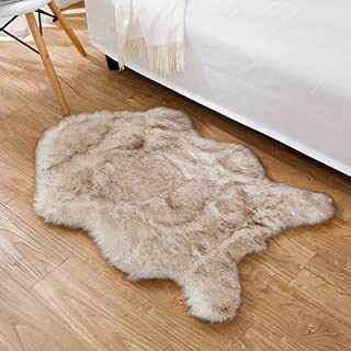 HYMYUS Soft Faux Sheepskin Fur Chair Couch Cover Area Rug 5.5 cm Thick Fluffy Living Room Runner Carpets Suitable for Children Kids Baby Bedroom Home Decor Nursery Rugs (Brown tip, 2FTx3FT)