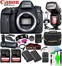 Canon EOS 6D Mark II DSLR Camera (Body Only) Kit + (2) SanDisk 64GB Extreme PRO Cards + Godox TT685C Thinklite + Compatible Battery Grip + (2) LP-E6N Batteries + Large Camera Bag + Cleaning Kit & More