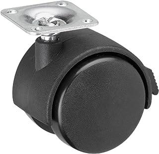 Metafranc Dubbele rol Ø 50 mm - vastzetter - 38 x 38 mm plaat - kunststof wiel - hard loopvlak - glijlager - 35 kg draagkr...
