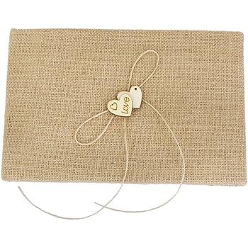 Ring Pillow The Crafty Owl M00131 Pen Set +Flower Girl Basket 4Pcs//Set Burlap Wedding Guest Book Burlap