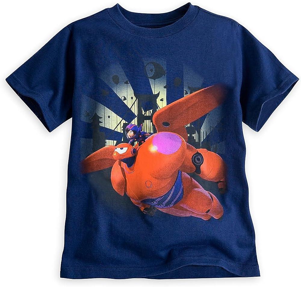 Disney Store Big Hero 6 Baymax Mech & Hiro Tee T-Shirt Blue 10/12