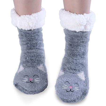 Jeasona Slipper Socks Women Non Slip Fluffy Socks Fleece Cute Warm Cosy Winter Gifts for Women