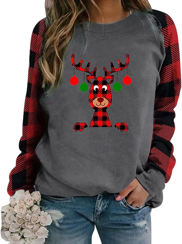 Christmas Shirts for Women, Womens Crewneck Sweatshirt Graphic Reindeer Santa Print Plaid Loose Long Sleeve Pullover Tops
