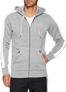 Ouber Men's Fitted Stripe Casual Workout Sweatshirt Zip Up Hoodie Top