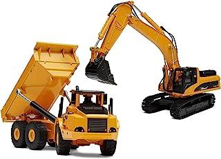 Top Race 2 en 1 diecast Metal Excavadora y Camión volquete Freewheeler Boys Construction Toys. TR-111D / 112D