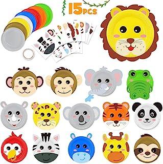 15pcs Paper Plate Art Kit for Kids Toddler Crafts Safari Jungle Animals Art Kits Simple DIY Animals Paper Plate for Boys G...