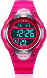 Kids Teens Girls Waterproof Sports Digital Watches w Alarm Stopwatch Colorful Luminous for Age 6-14