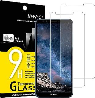 NEW'C 2-pack skärmskydd med Huawei Y7 2018, Y7 Prime (2018) – Härdat glas HD klar 9H hårdhet bubbelfritt